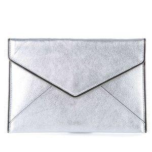 NWT Rebecca Minkoff Silver Leo Envelope Clutch